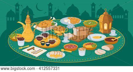 Iftar, Ramadan Banner With Food And Drinks Eating