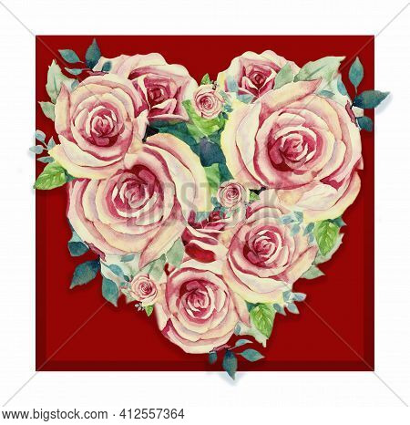 Marriage Invitation Card, Women's Day, Valentine Card With Bright Pink Rose Flowers, On Red Frame Co