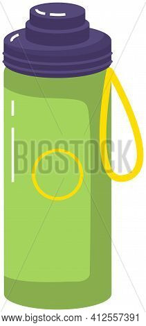 Vacuum Thermos With Lid And Handle Vector Illustration. Durable And Reusable Water Bottle
