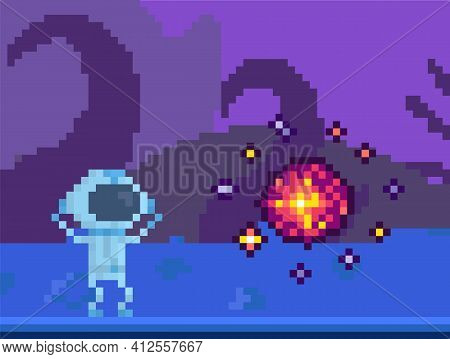 Substance Attacks Astronaut. Alien Raises His Hands Up And Looks Through Helmet At Danger