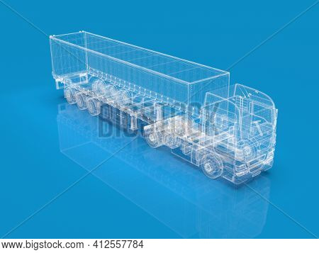 Transparent  Abstract Semi Trailer Truck Isolated on Blue, Transportation Vehicle, Delivery Transport TIR, Euro Cargo Logistic Concept, Freight Shipping, International Delivering Industry, 3D Render