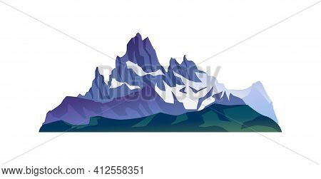 Snow-capped Sharp Peaks, Mountain Rocks And Cliffs