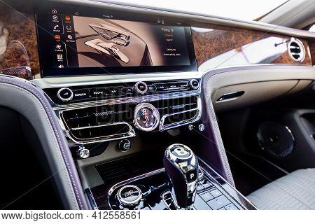 Prague, Czech Republic - January 11, 2021: Interior Of Luxurious Bentley Vehicle In Prague, Czech Re