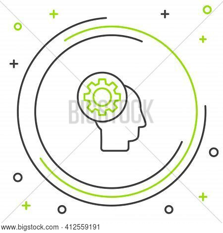 Line Human Head With Gear Inside Icon Isolated On White Background. Artificial Intelligence. Thinkin