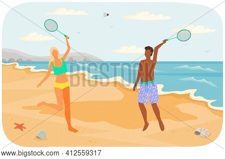 Couple Playing Badminton Flat Vector Illustration. Husband And Wife With Tennis Racquets On Beach