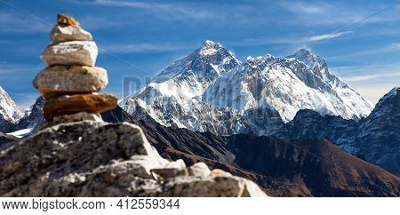 View Of Mount Everest And Lhotse With Stone Man Or Pyramid From Renjo Pass, Gokyo Valley Way To Ever
