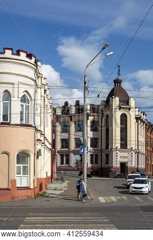 Tomsk, Russia-30 August 2020: Crossroads With Old And New Buildings In The Historical Part Of The Ci