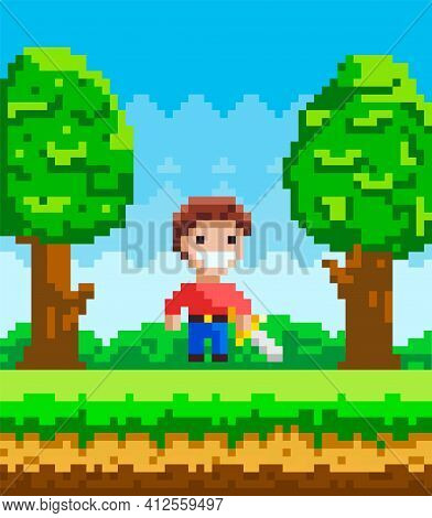 Vector Pixel-game Character. Pixelated Man With Steel Sword In Nature Landscape Forest Background