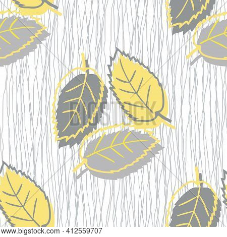 Elm Leaf Seamless Vector Pattern Background. Hand Drawn Yellow Grey Leaves With Offset Silhouette Co