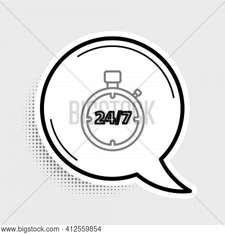 Line Stopwatch 24 Hours Icon Isolated On Grey Background. All Day Cyclic Icon. 24 Hours Service Symb