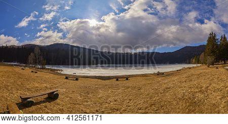 Beautiful Volcanic Lake Saint Ana In The Winter Time. Saint Ana Volcanic Lake In Tusnad Romania