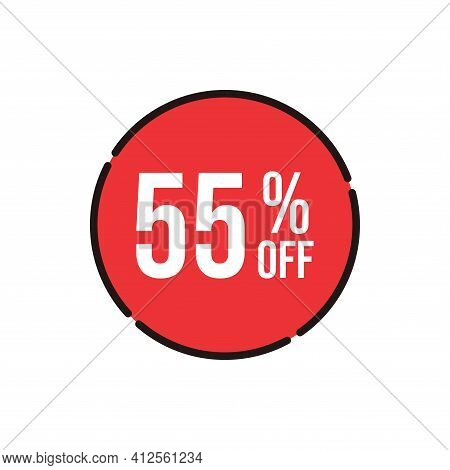 55% Sale Tag Vector Badge Template, 55% Sale Label Collection, Clearance Sale Sticker Emblem, Bargai