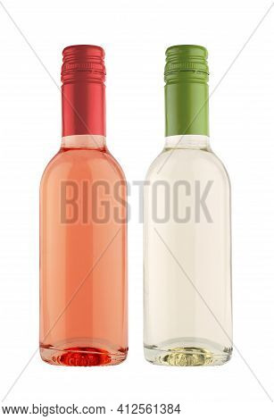 Front View Of Small Single Serve Miniature Rose And White Wine Bottles With No Label And Colored Met