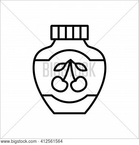 Cherry Jam Jar. Vector Line Icon. Canned Fruit Jelly. Isolated Object On White Background. Homemade