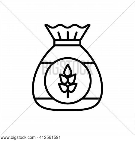 Flour Bag. Vector Line Icon. Wheat, Barley Or Rye Powder Pack For Baking. Ingredient For Bread & Pas