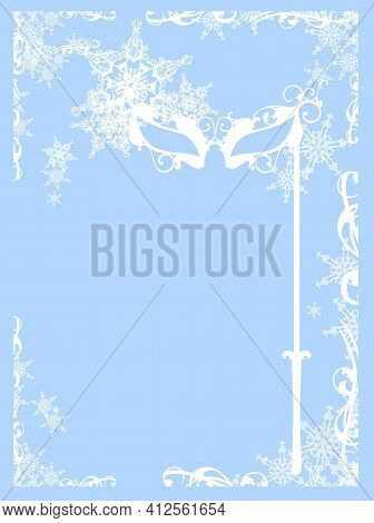 Elegant Carnival Mask And Snowflakes Making Winter Season Frame Border  -  Seasonal Party Vector Cop
