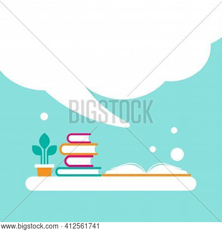 Stack Of Books And Open Book With Orange Cover And Big Speech Bubble Flying Out. Isolated On Powder