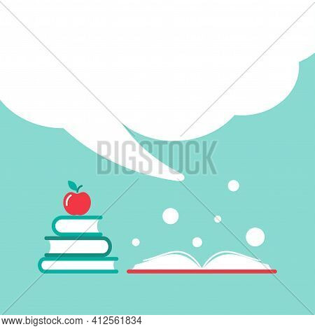 Stack Of Books With Apple And Open Book With Orange Cover And Big Speech Bubble. Isolated On Powder