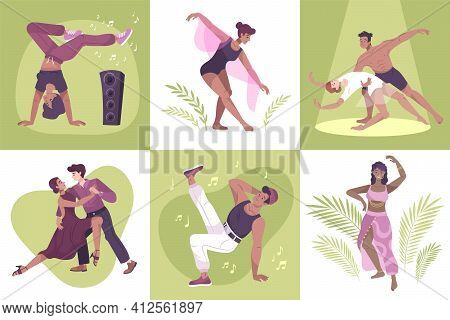 Dancer Set Of Six Flat Compositions With People Dancing To The Music Solo And In Pairs Vector Illust