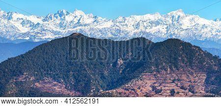 Himalaya, Panoramic View Of Indian Himalayas, Great Himalayan Range, Uttarakhand India, View From Mu