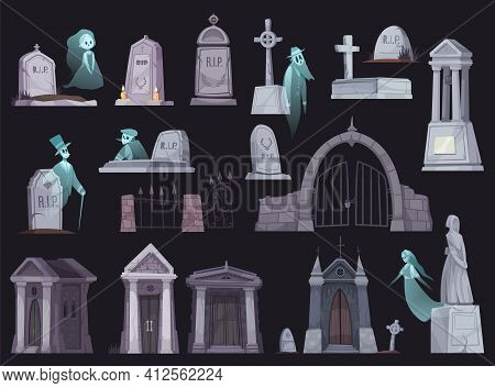 Cartoon Icons Set With Old Cemetery Fence Chapel Tombstone Crypt Cross And Ghost Isolated On Black B