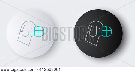 Line Dog In Muzzle Icon Isolated On Grey Background. Accessory For Dog. Colorful Outline Concept. Ve