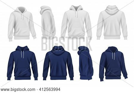 Hoodie Collection. Black And White Sport Casual Clothes For Men Decent Vector Realistic Mockup