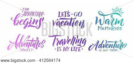 Handwriting Slogans. Summer Memories, Typography Lettering For Diary Calendars Or Stories. Isolated