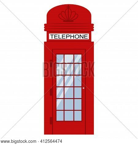 London Phone Red Booth Vector Flat Icon Isolated On White Background.