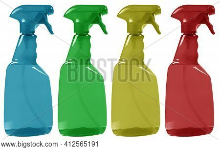 Multicolored Plastic Water Spray Bottle Isolated On White Background. Colour Blank Plastic Spray Det