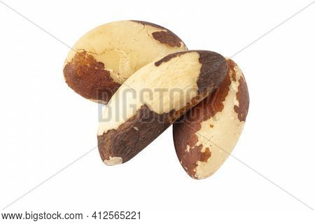 Brazilian Nut Isolated On White Background. Group Of  Brazil Nut Close Up View. Macro Shot Tasty Bra