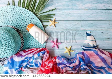 Summer Fashion Woman Big Hat And Sunblock With Accessories Item Go To Travel In The Beach. Tourism T