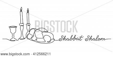 Shabbat Shalom, Peaceful Sabbath, Vector Poster, Banner, Background With Challah, Candle, Wine. Shab