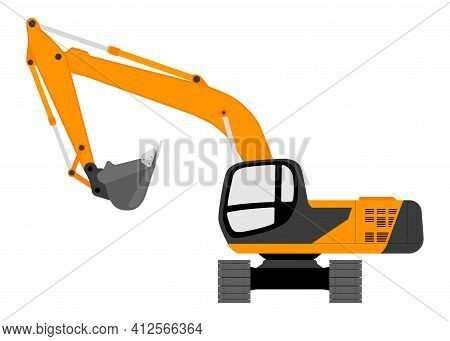 Color Image Of An Excavator. Vector Illustration.