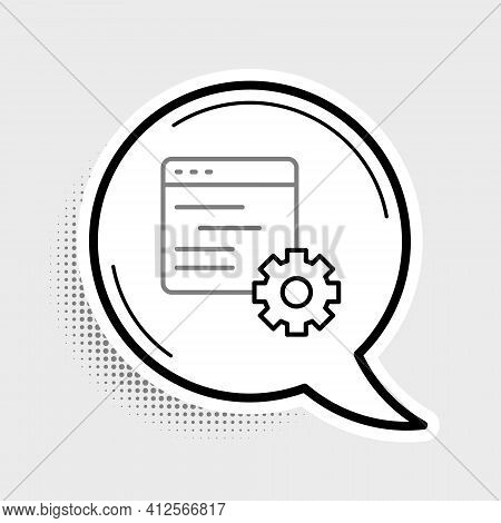 Line Computer Api Interface Icon Isolated On Grey Background. Application Programming Interface Api
