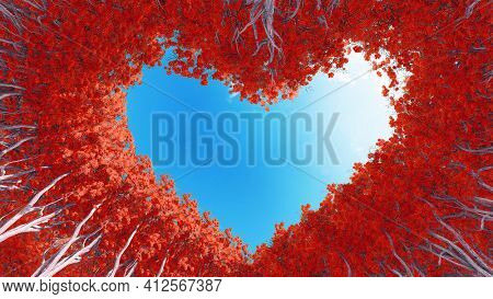 Concept or conceptual heart shape symbol made of forest tree branches over a blue sky background as romantic frame. A metaphor to love, Valentine Day celebration, environment ecology 3D illustration