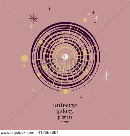 Mystical Look Into Universe. Space Galaxies With Planets And Stars, And Their Influence On Fate. Vec