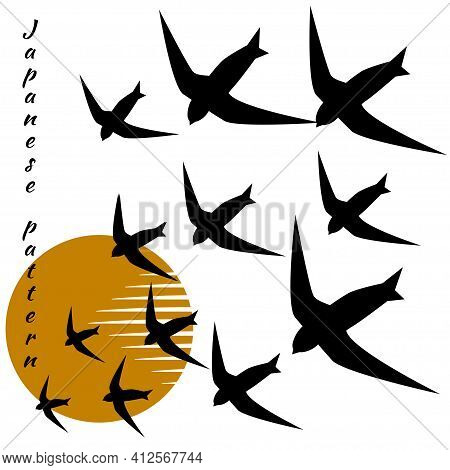 Minimalistic Pattern In Japanese Style. Flock Of Swallow Birds Fly Into Bright Sun. White Background