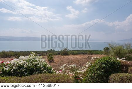 View Of The Sea Of Galilee, Tiberias, Israel. Beautiful Landscape On Sunny Day On Kinneret Lake. Hig