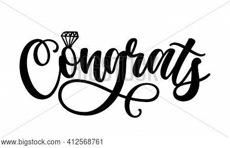 Congrats Word - Black Hand Lettered Quotes With Diamond Ring For Greeting Cards, Gift Tags, Labels,