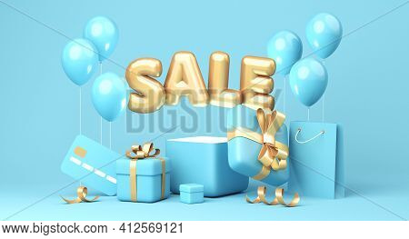 Sale Banner On Blue Background. Sale Word, Balloons, Credit Card, Shopping Bag, Gift Boxes Laying Ar