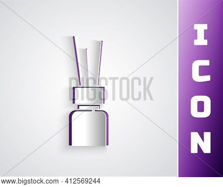 Paper Cut Aroma Diffuser Icon Isolated On Grey Background. Glass Jar Different With Wooden Aroma Sti