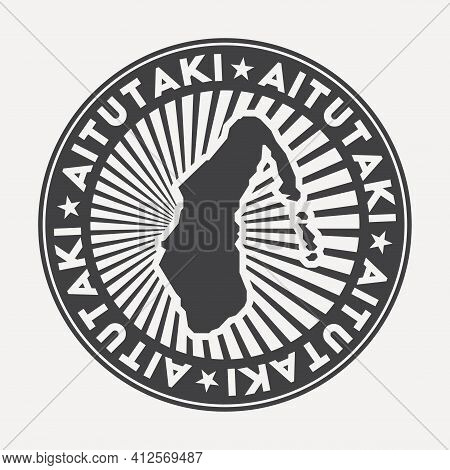 Aitutaki Round Logo. Vintage Travel Badge With The Circular Name And Map Of Island, Vector Illustrat