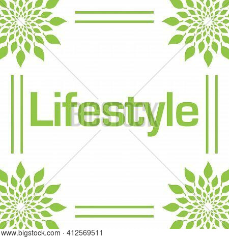 Lifestyle Text Written Over Green Background With Leaves.