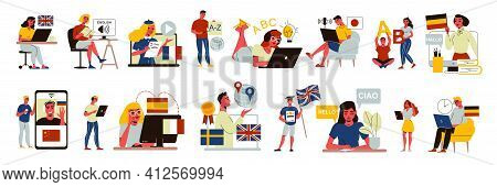 Language Course Center Education Set Of Isolated Icons With Students And Tutors With Gadgets And Fla