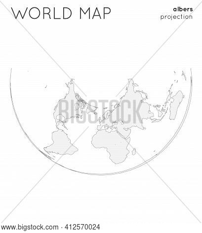 World Map. Globe In Albers Projection, Plain Style. Outline Vector Illustration.