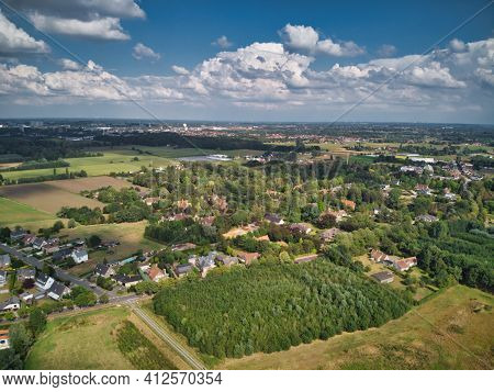 Aerial View Of The Suburbs Of Ghent In De Pinte, Residential Area Mixed With Agriculture