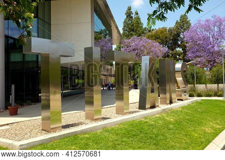 FULLERTON CALIFORNIA - 23 MAY 2020: TITANS nickname letters in front of the Student Union on the campus of California State University Fullerton, CSUF.