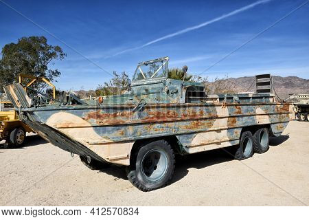 CHIRIACO SUMMIT, CA - 10 DEC 2016: A Rusted DUKW-353 Amphibian vehicle called DUCK. The vehicle is on display at the General Patton Memorial Museum in the California desert.