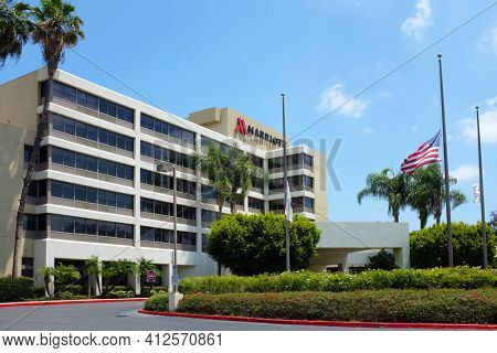 FULLERTON CALIFORNIA - 23 MAY 2020: Fullerton Marriott at California State University, adjacent to the school and convenient to the 57 Freeway.